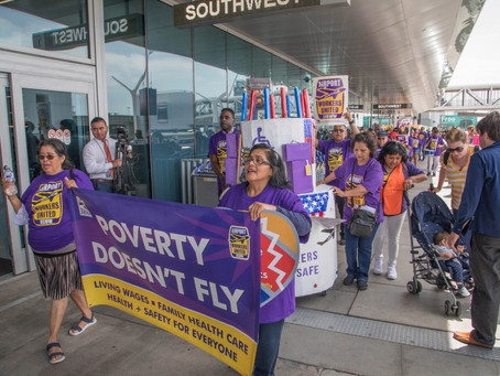 LAX workers at two unions rally at terminals to demand union jobs