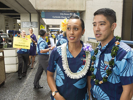 Hawaiian Airlines flight attendants hold first major union protest in 20 years