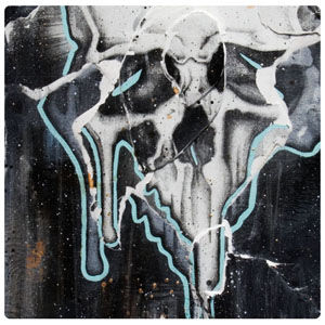 Skull art dripping white human skull art