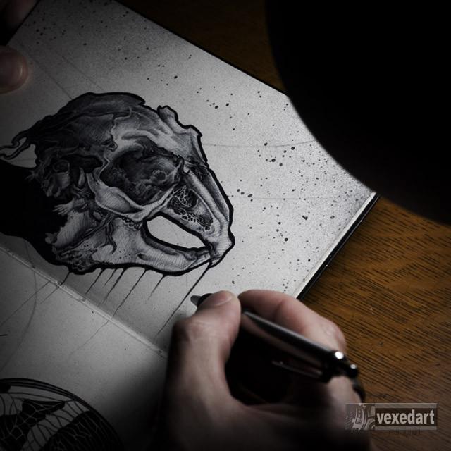rabbit t-shirt design, skullz