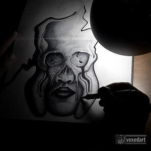 skull art pen drawing in sketchbook