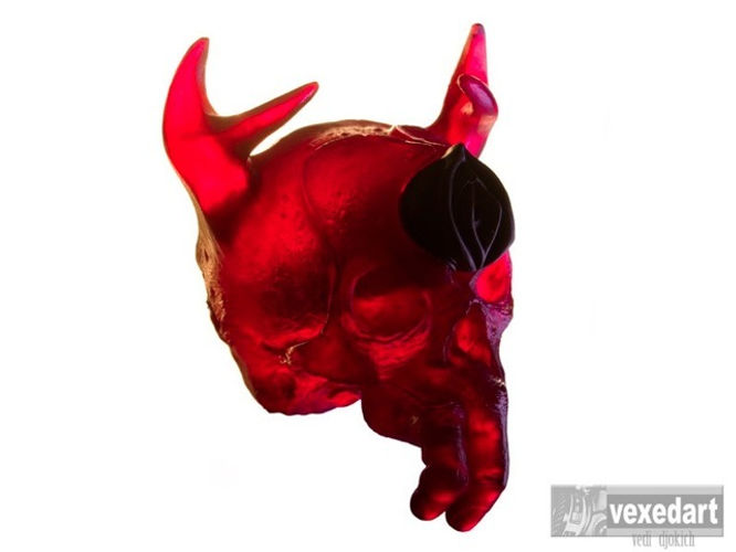 red resin human skull, adult toy with si