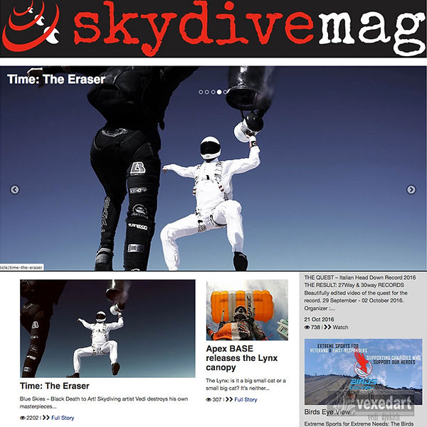 Skydivemag.com Lesley Gale UK skydive magazine, Time the Eraser skydive painting art project, vexedart, vedi djokich