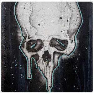 Art with skulls screen print on paper. Fine art