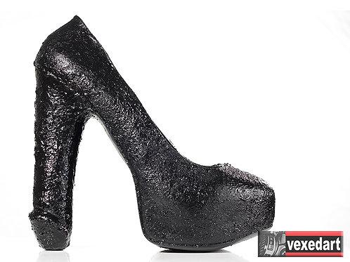 Textured Fuk-Shu : Black Silicone Shoe Sculpture