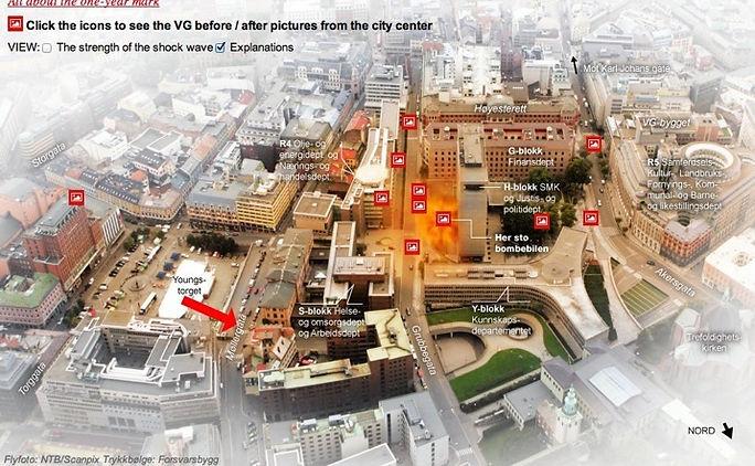 VG News map of Oslo terrorist attack | location of bomb detonation