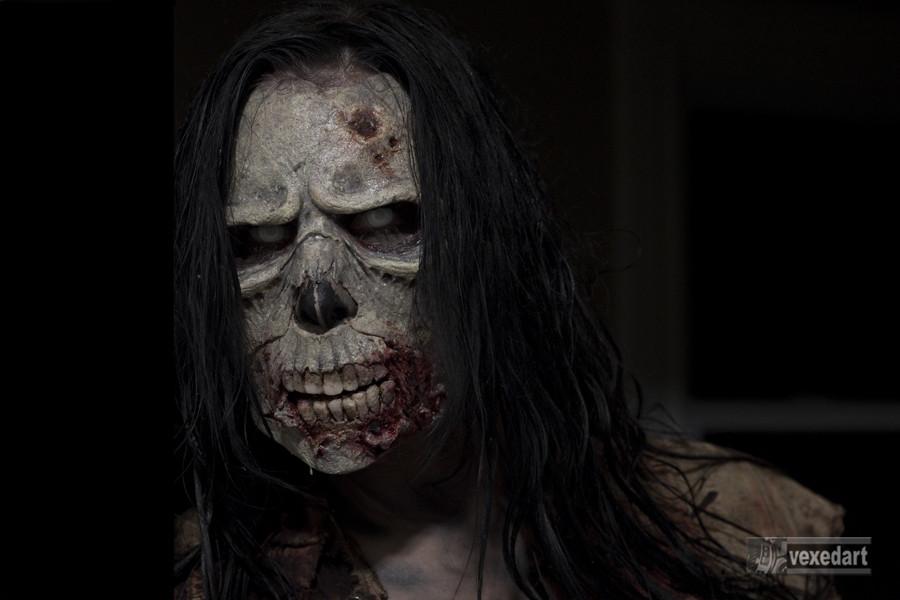 zombie make up walking dead halloween fx mask, sculpture