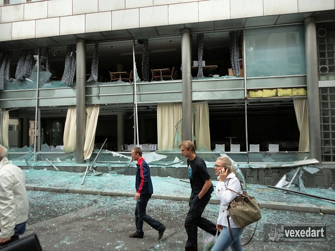 destroyed building after terror attack | Anders Breivik bombing aftermath | city in ruins