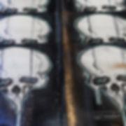 printmaking of a human skull on fine art paper | silkscreen art