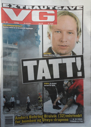 Oslo explosion-news paper image 1| Anders Behring Breivik named as suspect|- July 22 2011, terrorist attack-vexedart.com