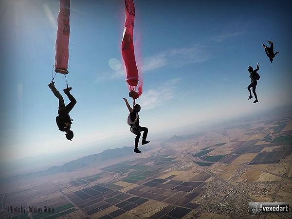 skydive art display freefall art project