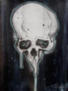 balloon skull design in graffiti style of a dripping skull