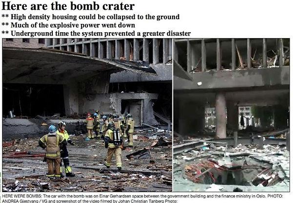 truck bomb crater after terrorist explosion | terrorism in Scandinavia