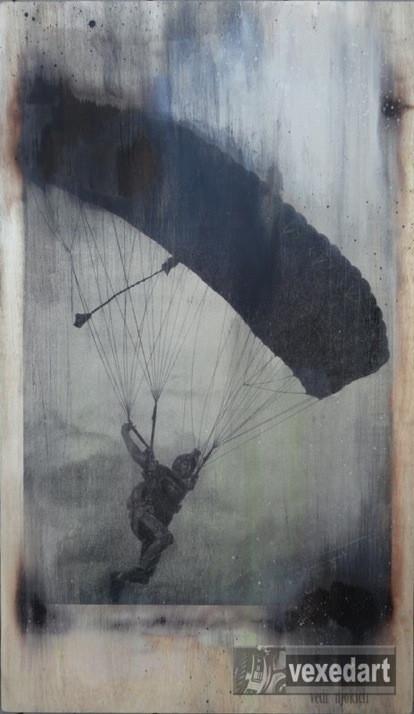 skydive swoop art piece screen printed on wood. Original skydive art for sale.