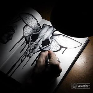 skull pen drawing.  Sketchbook art drawing