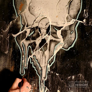 art with human skulls symbol of death