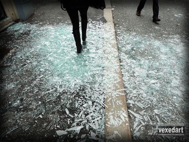 bomb shrapnel broken pains of glass | streets full of glass shards