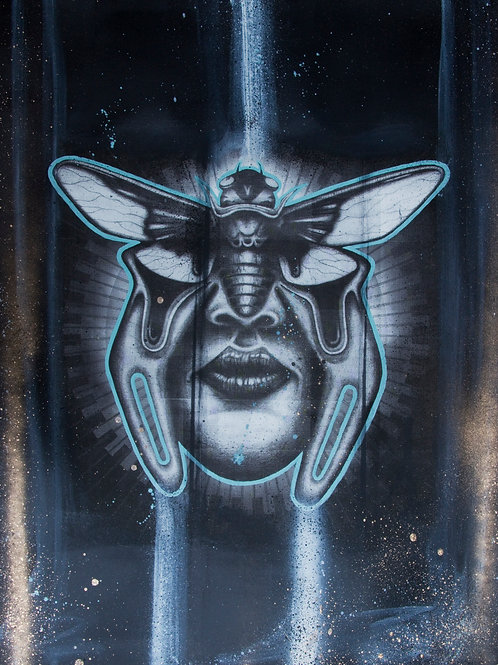 Cicada art work. Portrait of a cicada and women face. Screen printed bug art.