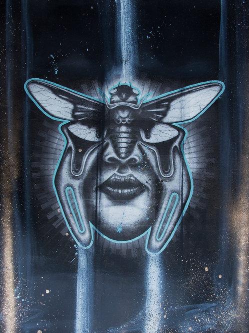 Cicada art work. Portrait of a cicada and women face. Screen printed bug art.