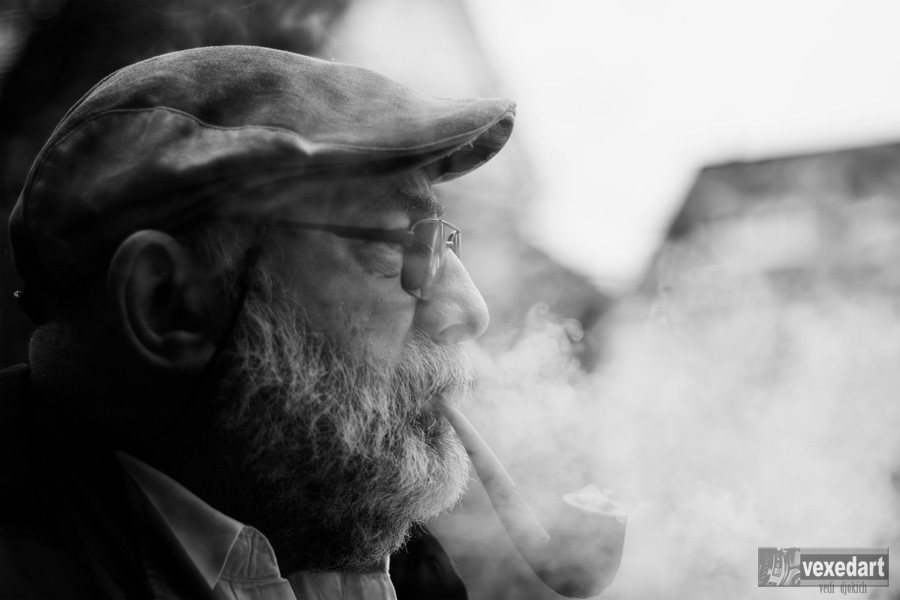 man smoking portrait, pipe smoker, man with glasses pipe and hat