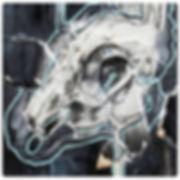 Rabbit Skull art work on wood panel