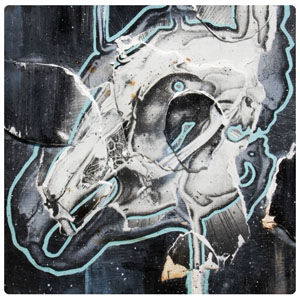 Rabbit Skull art work on wood panel