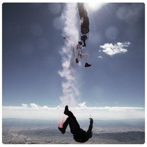 skydive artist painting in freefall. Extreme art