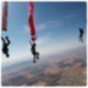 Painting and skydiving , skydivers Steve Curtis, Sara Curtis, Vedi Djokich, photo Johnny Gunn