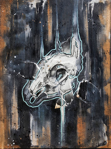 rabbit skull art childhood memories fine art painting screenprint