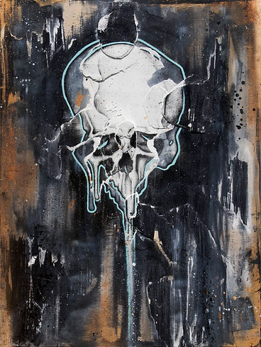 balloon skull art on wood silkscreen art with skulls
