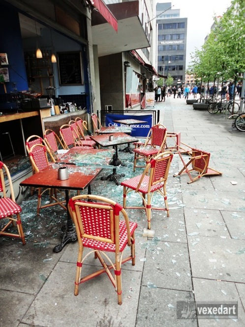 broken glass at a cafe after the truck bomb detonated in Oslo