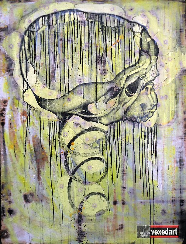 Fear Of Death Skull Art Screen on Wood S