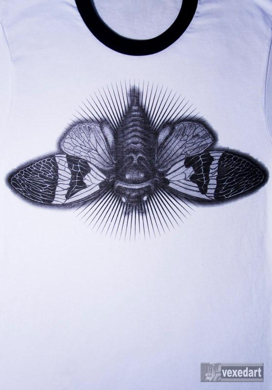 bug clothing, original insect t-shirts, cicada art