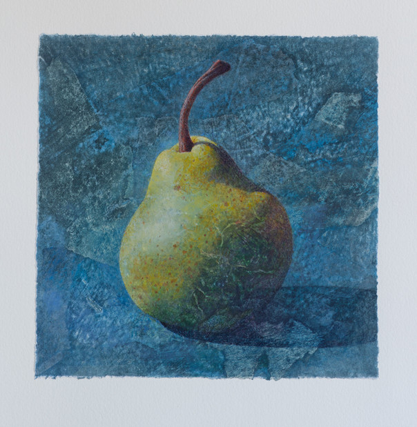 Pear on collaged paper