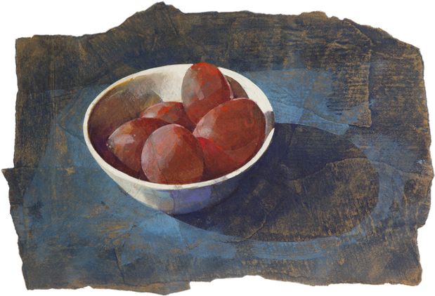 Plums in white bowl