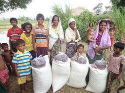 Receiving Relief aid after Cyclone