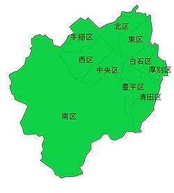 北海道札幌市の地図画像