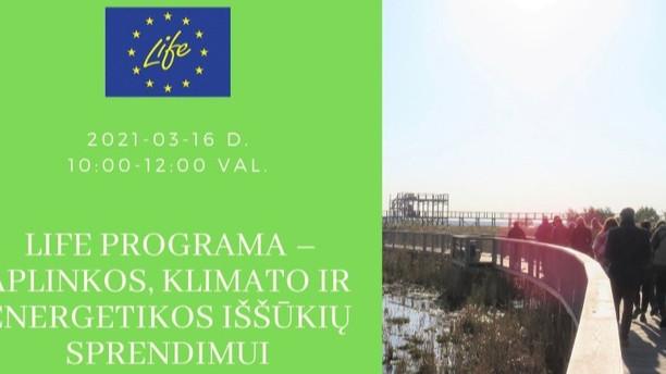 Kviečiame į nuotolinį renginį apie LIFE programą