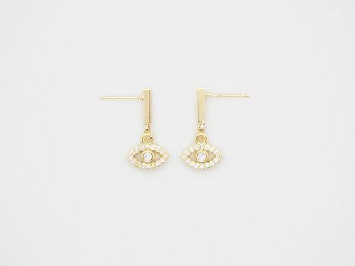 Evil eye dangly earrings
