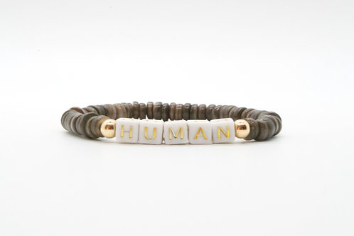 Personalize Your Gray Shell Rondelle and Letter Bracelet