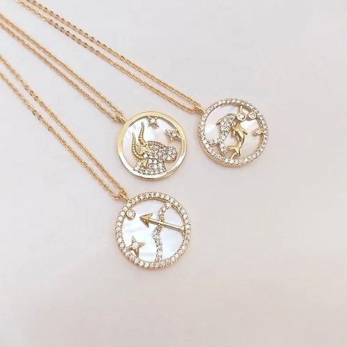 Zodiac coin pendant necklace