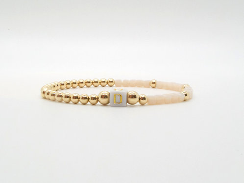 Personalize Your Gold Bead and Cubed Bead Initial Bracelet