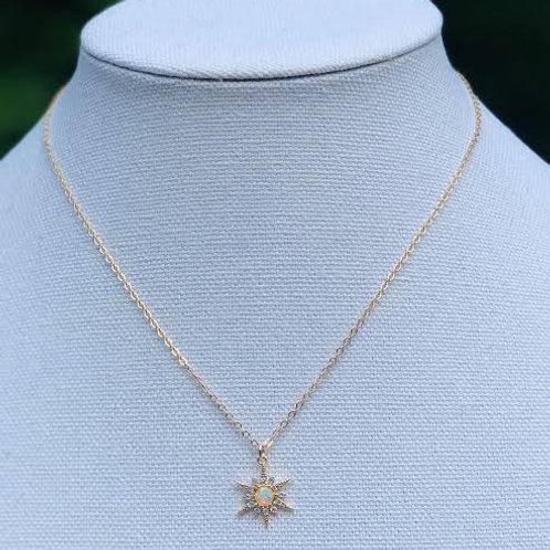 Gold filled opal starburst charm necklace