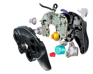 Exploded view of a game controller