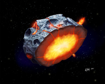An illustration of the metallic asteroid Psyche depicting ferrovolcanism.