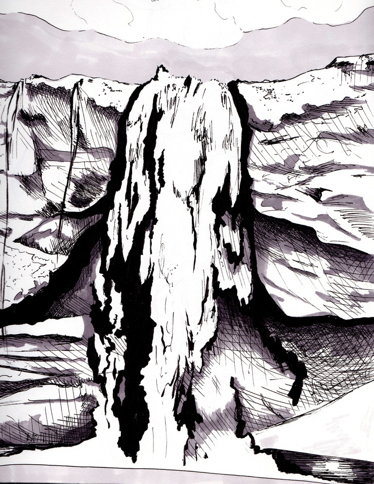 A field sketch of an icelandic waterfall. It was cold. It was also summer.