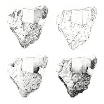 4 renderings of a sample of Pyri
