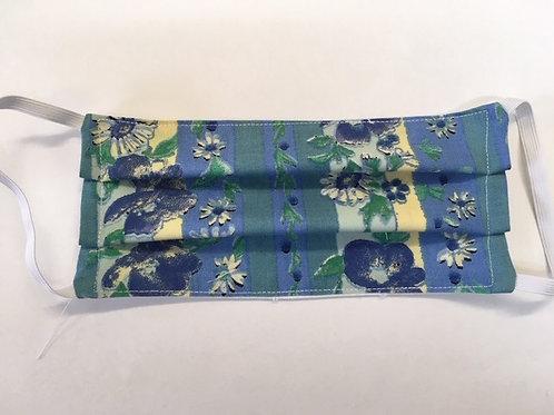 """Dirndlmaske """"Blumen Blau Gestreift"""""""