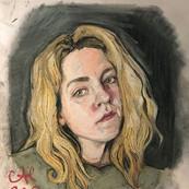 Self portrait in soft pastel
