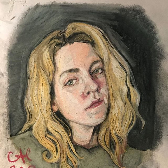 Self portrait in soft pastel